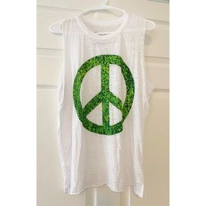 Chaser Peace Sign White Tank Top